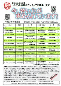 イベント体験ボランティア募集!!(6月~8月)(終了しました)